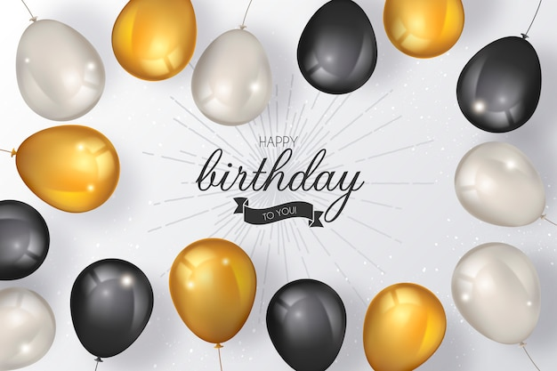 Elegante fondo de cumpleaños con globos de lujo