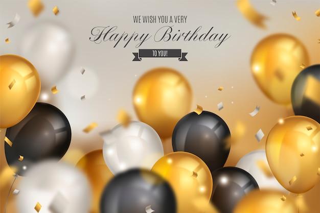Elegante fondo de cumpleaños con globos realistas