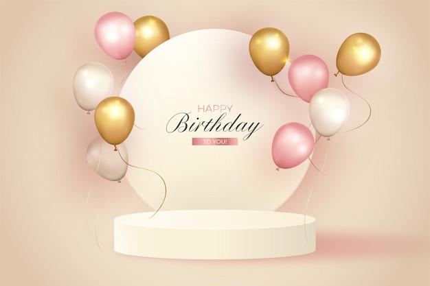 Elegante fondo de cumpleaños con podio realista