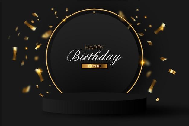 Elegante fondo de cumpleaños con podio realista. vector gratuito