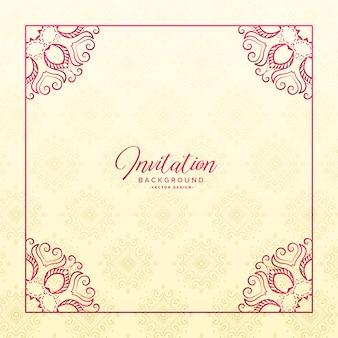 Elegante fondo de invitación de marco de frontera floral