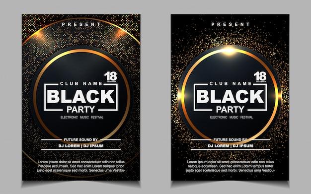 Elegante fondo de diseño de fiesta de cubierta negra y dorada