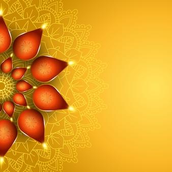 Elegante fondo de diwali con diseño de lámparas de aceite.