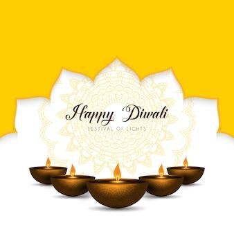 Elegante fondo de diwali con lámparas de aceite y diseño de mandala.