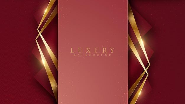 Elegante fondo dorado abstracto con elementos brillantes tono rojo