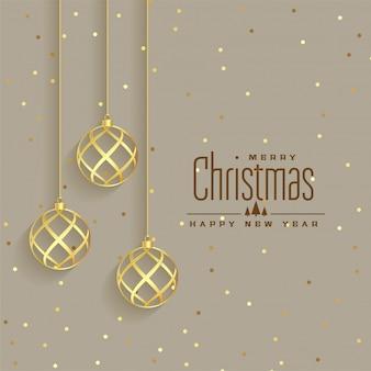 Elegante fondo dorado de bolas premium navideño.