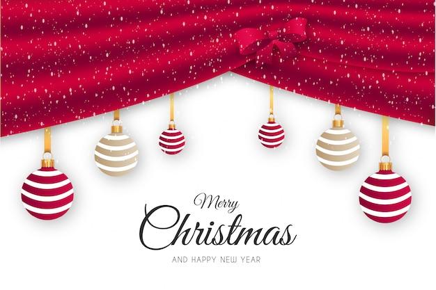 Elegante fondo de feliz navidad con cortina roja