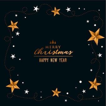 Elegante fondo de feliz navidad con decoración de estrellas doradas