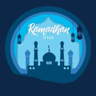 Elegante fondo de festival decorativo de ramadan kareem con mezquita