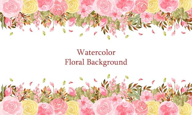 Elegante fondo floral acuarela con hermosas flores de color rosa y amarillo