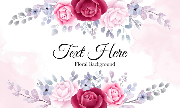 Elegante fondo floral de acuarela con hermosos adornos florales