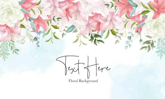 Elegante fondo floral con dibujo a mano suave de flores y hojas.