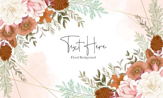 Elegante fondo floral otoñal con flor de rosa y pino