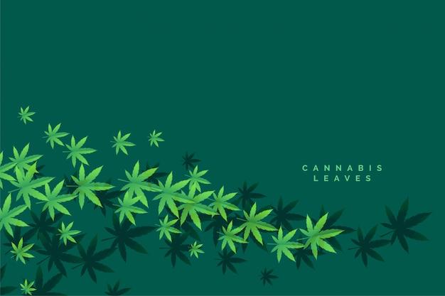 Elegante fondo de hojas flotantes de marihuana y cannbis