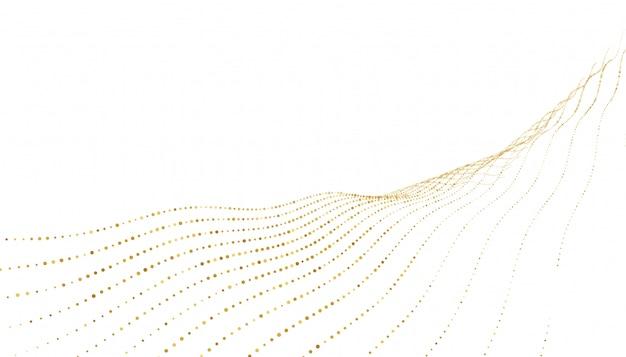 Elegante fondo de líneas de onda de puntos dorados