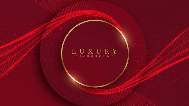 Elegante fondo de luz de neón de línea y oro abstracto con elementos brillantes de tono rojo.