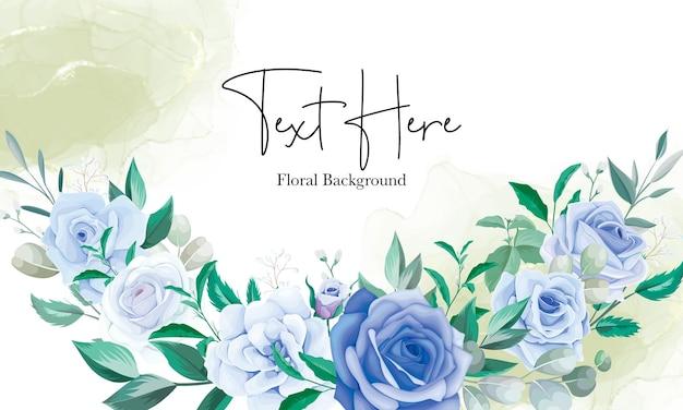 Elegante fondo de marco floral con adorno de flor azul