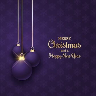 Elegante fondo de navidad con adornos colgantes de color púrpura