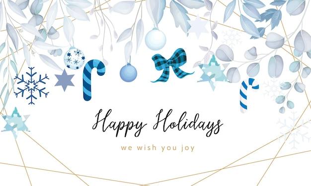 Elegante fondo de navidad feliz con adorno de navidad blanco