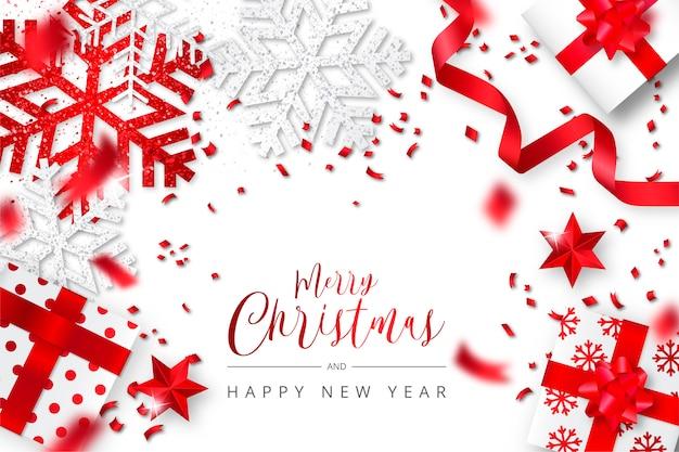 Elegante fondo de navidad realista blanco y rojo