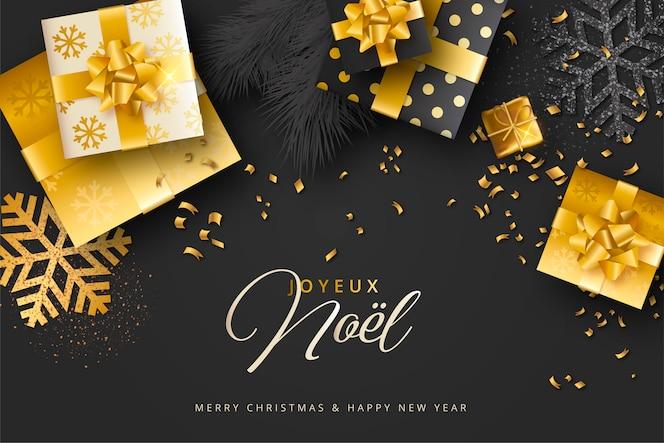 Elegante fondo de navidad realista negro y dorado