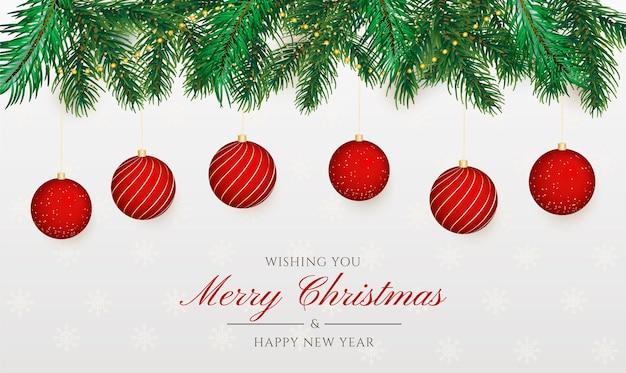 Elegante fondo navideño con decoración realista