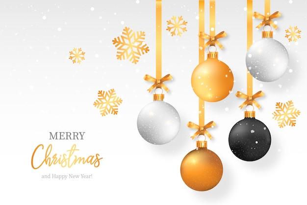 Elegante fondo navideño con elegantes bolas de navidad
