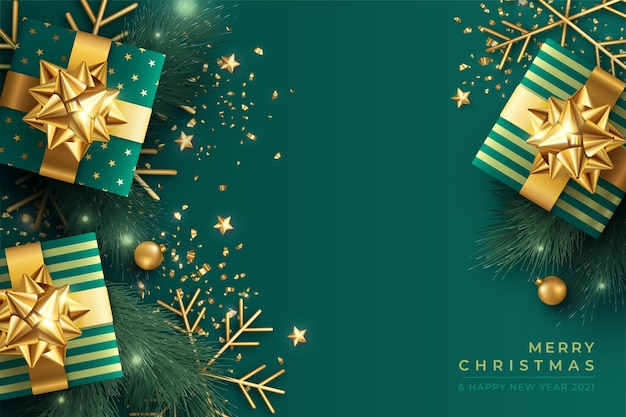 Elegante fondo navideño en verde y dorado.