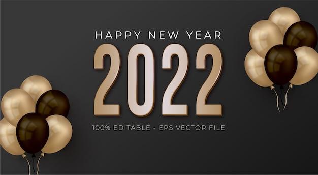 Elegante fondo negro y dorado feliz año nuevo 2022