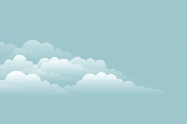 Elegante fondo de nubes en el diseño de cielo azul