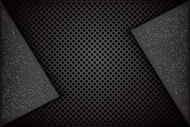 Elegante fondo oscuro con combinaciones negras superpuestas y puntos brillantes