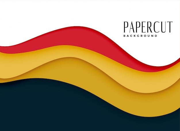 Elegante fondo de papercut en estilo ondulado
