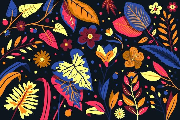 Elegante fondo de plantilla con flores exóticas