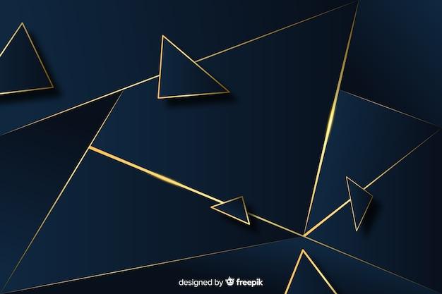 Elegante fondo poligonal oscuro y dorado.