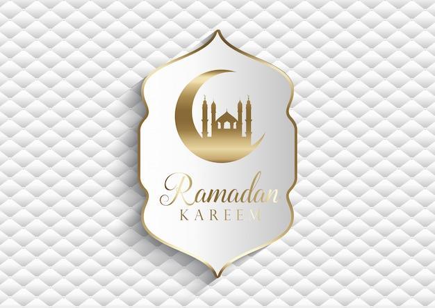Elegante fondo para ramadan kareem en blanco y oro.
