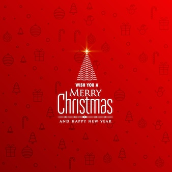 Elegante fondo rojo de navidad con diseño de árbol creativo