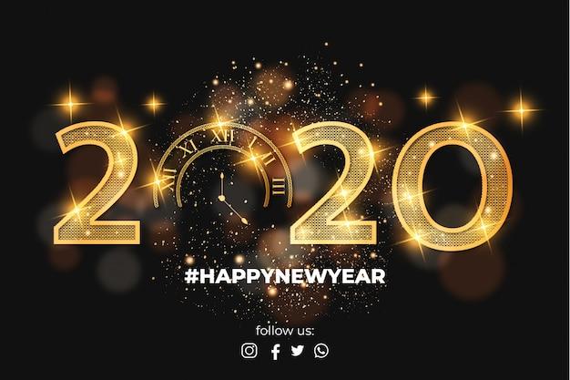 Elegante fondo de tarjeta feliz año nuevo 2020