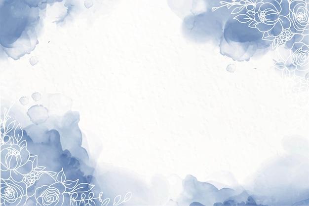 Elegante fondo de tinta de alcohol azul marino con flores