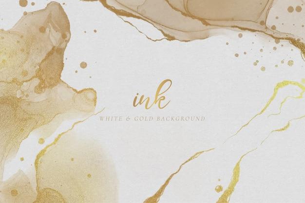 Elegante fondo de tinta blanca y golde