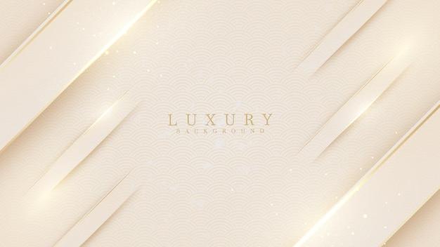 Elegante fondo de tono crema con elementos dorados de línea. concepto moderno 3d de estilo de corte de papel de lujo realista. ilustración vectorial para el diseño.