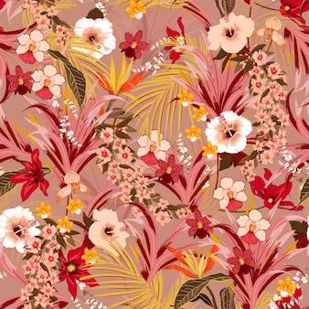 Elegante fondo tropical retro con patrón de vector de selva
