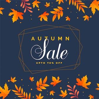 Elegante fondo de venta de otoño con hojas caídas