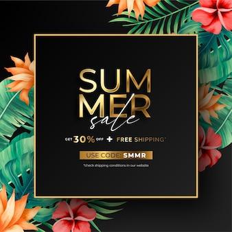 Elegante fondo de venta de verano con naturaleza tropical.