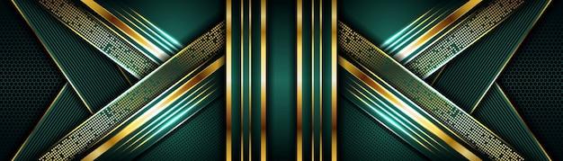 Elegante fondo verde oscuro combinado con una capa superpuesta dorada