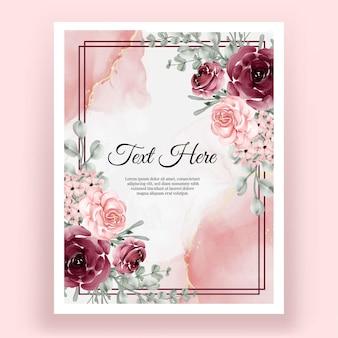 Elegante forma de fondo de marco de acuarela de flor rosa rosa y burdeos