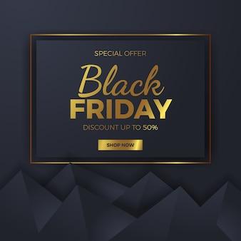 Elegante forma de triángulo geométrico para la plantilla de banner de oferta de venta cuadrada de viernes negro