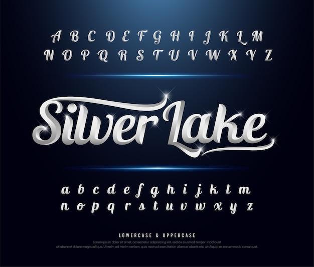 Elegante fuente de alfabeto cromado de metal plateado
