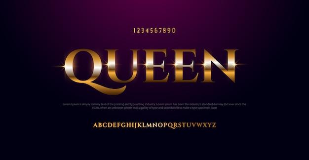 Elegante fuente de alfabeto de cromo de metal de color oro. fuente tipográfica estilo clásico dorado
