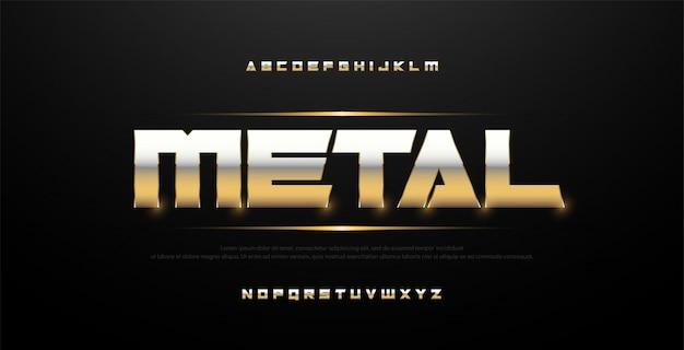 Elegante fuente de alfabeto de metal dorado y plateado