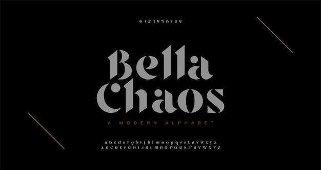 Elegante fuente de letras del alfabeto impresionante y número. letras clásicas diseños de moda minimalista. fuentes tipográficas regulares en mayúsculas y minúsculas.